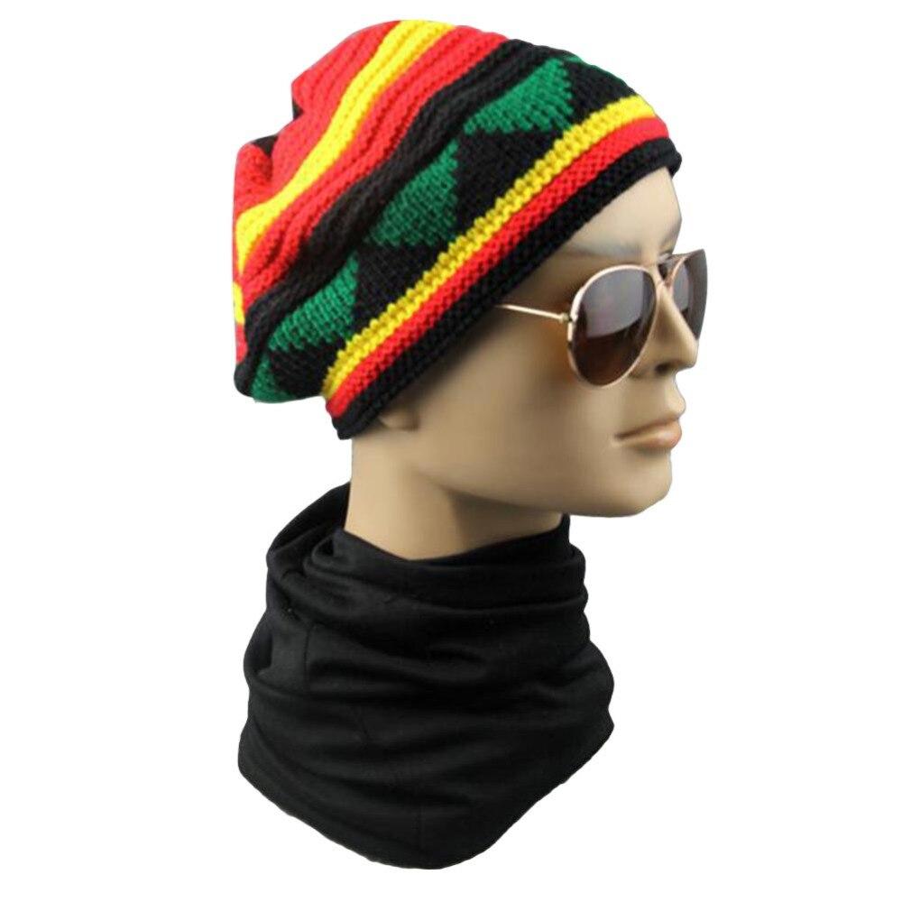 d0f75b22b47 2018 Winter New Hip Hop Multi-Colour Striped Cap Ladies Skuilles Beanie  Rasta Reggae Hats