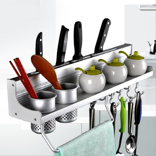 Aluminum alloy kitchen shelf wall hanging storage rack seasoning knife rack storage rack & Aluminum alloy kitchen shelf wall hanging storage rack seasoning ...