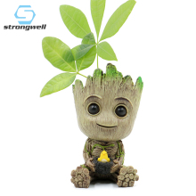 Strongwell Flowerpot Baby Groot Pen Pot Holder Plants Flower Pot Cute Action Figures Toys for Kids Gift Desktop Decoration
