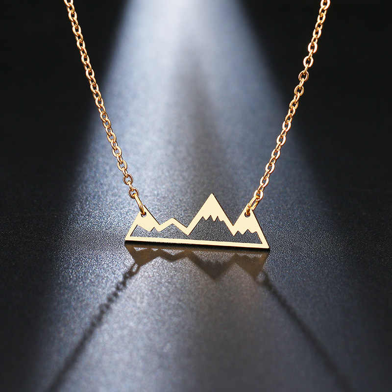 DOTIFI Stainless Steel Necklace Minimalist Mountain Top Pendant Snowy Mountain Necklace Hiking Outdoor Travel Jewelry Mountains