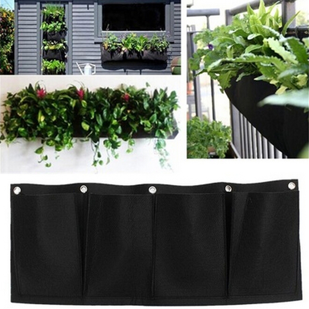 Horizontal 4 Pockets Living Indoor Wall Planter Garden Planter Wall-mounted Polyester Home Gardening Flower Planting Bags