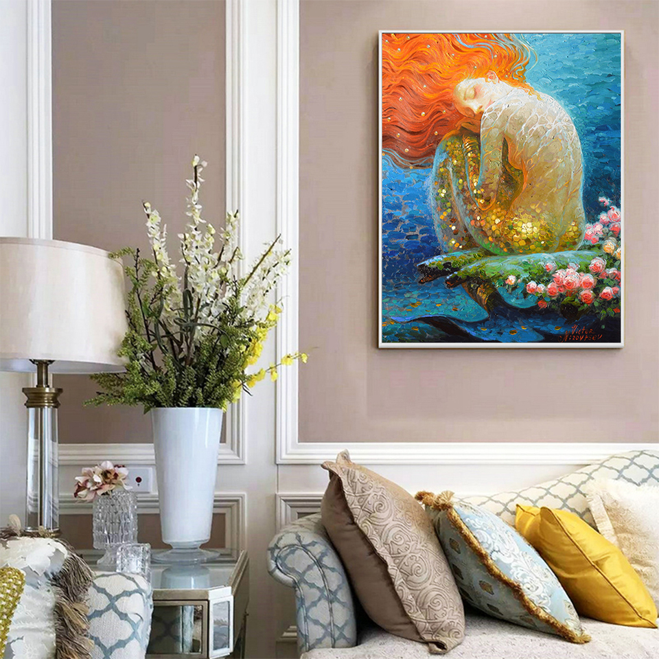 Living Room wall decor VINTAGE mermaid Oil painting Picture Printed on canvas v5