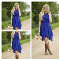 Cheap 2016 Royal Blue Bridesmaid Dresses Flow Chiffon Country Style Ruched High Low Wedding Party Dresses Vestidos gowns