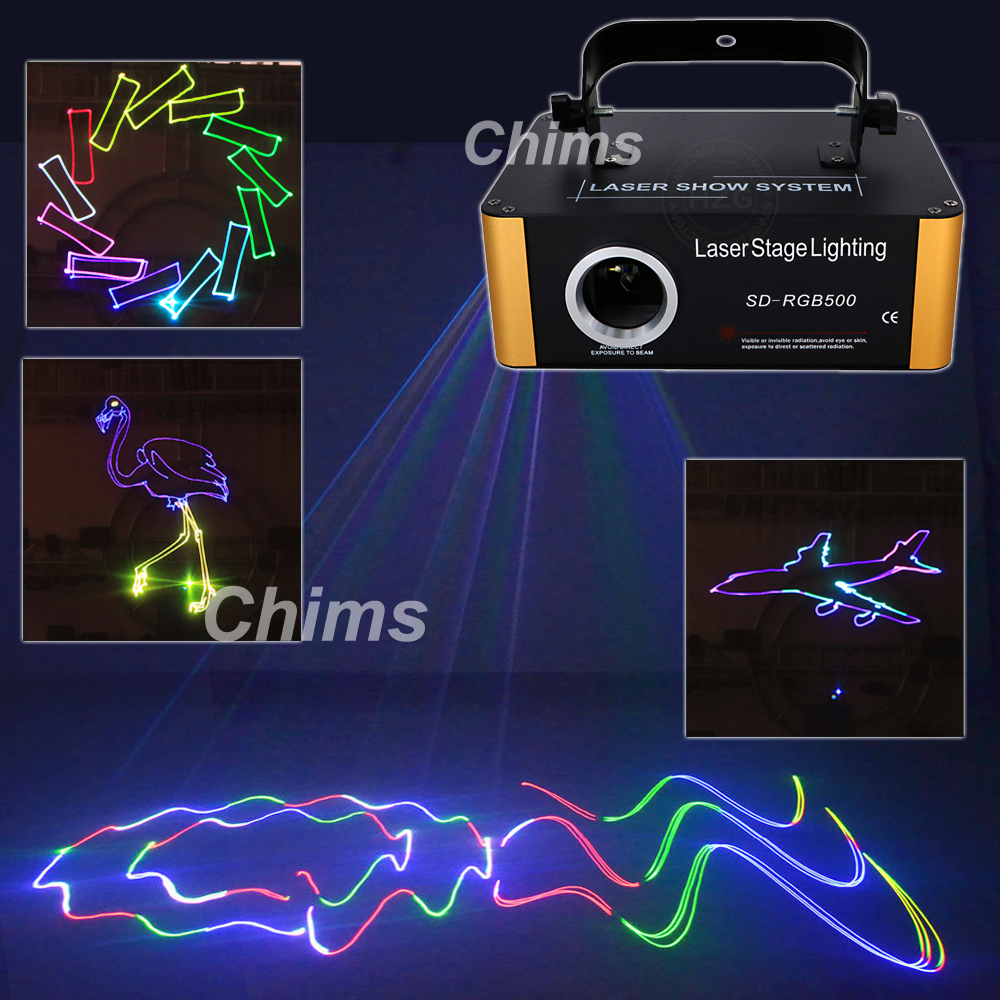 Chims 500mW RGB Laser Small SD Card Program DMX Animation Projector Stage Lighting PRO DJ Show Scanner Light SD RGB500|Stage Lighting Effect| |  - title=