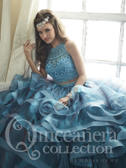Blue Burgundy Two Pieces Quinceanera Dresses With Beaded For 15 Year Ball Gown Ruffles Sweet 16 Dress Vestidos De 15 Anos QD7