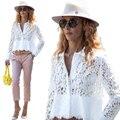 Белый женщин Рубашка Кружева Блузка Blusas Топы Blusa Де Ренда рубашки Женщины Черное Кружево Топ Плюс Размер женщин Блузки Крючком рубашка