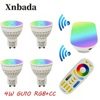 2.4G Gu10 4W Led Lamp AC85 265V, Mi Light RGB+CCT Led bulb light + IBX1 Remote Wifi+RGBW Remote Led light Free shipping