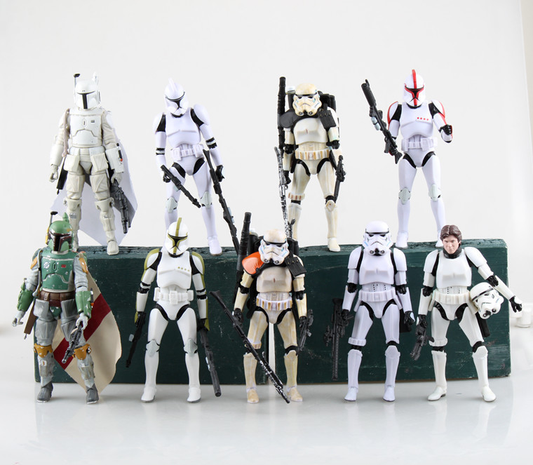 1PC 9 Style Star Wars Boba Fett  Stormtrooper 6 Revoltech PVC Action Figure Collectible Model Toy star wars black series 6 action figure boba fett a60c