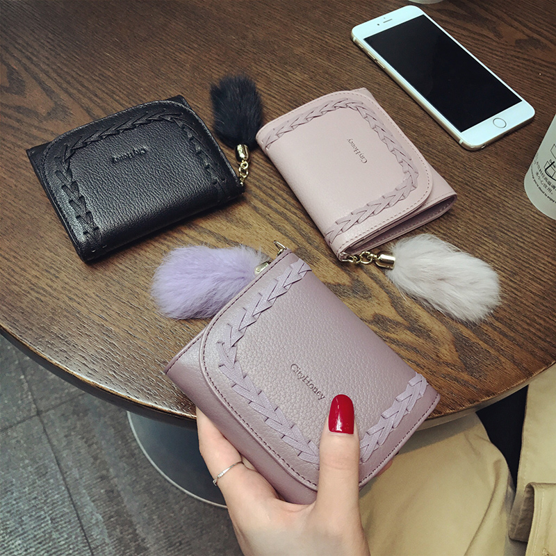 2016 Girls Wallets Genuine Leather Cow Leather Knitting Rabbit Hair Tassels Bag Purses Women Short Clutch Pink Wallet Purse Gift genuine cow leather women s wallet long style big capacity tri fold organizer wallets knitting women s purses jm 01289