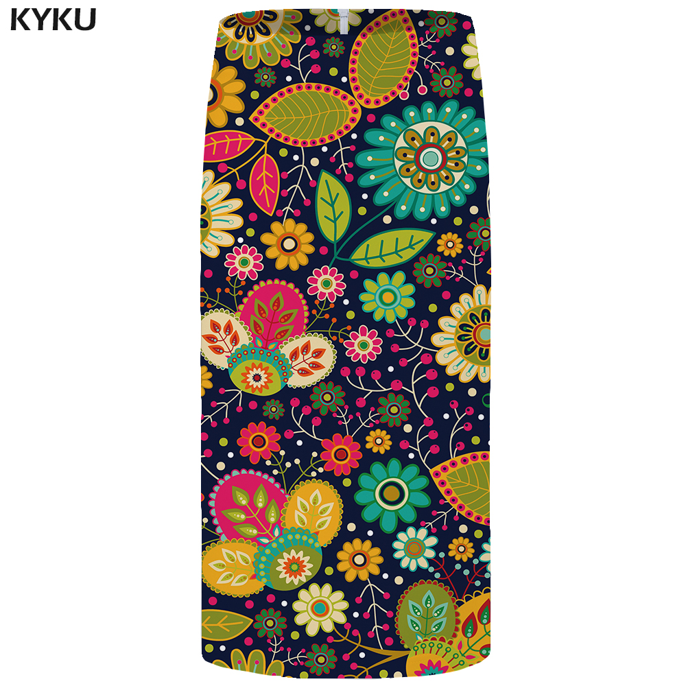 Kyku Flower Skirts Women Leaf Sexy Colorful Plus Size Vintage Floral Party Casual Ladies Skirts Womens Vintage Korean Short