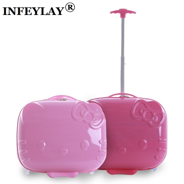 HOT hello Kitty 17 inches ABS+PC girl cartoon Pull rod box trolley case 3D child Travel luggage anime suitcase kids Boarding box