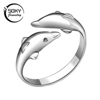 Wholesale 100 Genuine 925 Sterling Pure Silver Dolphin Women Ring TOP Quality