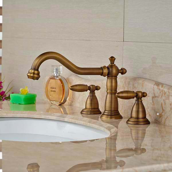 Bathroom Sink Faucet Cross Handles Tall Spout Vanity Sink Mixer Tap ...
