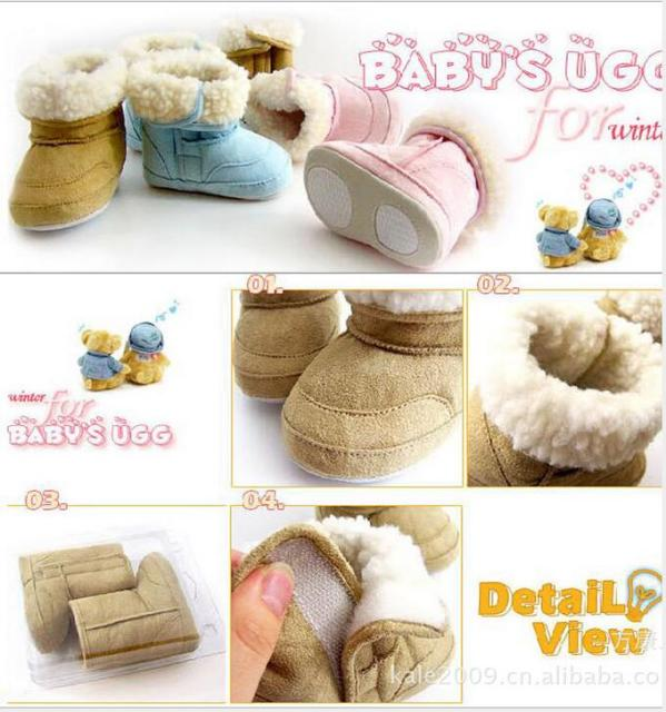 Baby Boots Toddler Shoes Knited Faux Fleece Crib Snow Boots Bowknot Woolen Infant Crib Shoes Boys Girls Fur Winter Snow Shoes