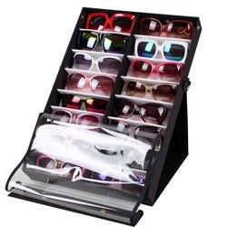 Nowy 16 sztuk/18 sztuk okulary do czytania okulary stojak do ekspozycji uchwyt okulary wyświetlacz wsparcie półka schowek Case-czarny + biały