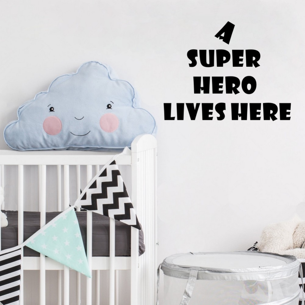 Inspirational Quotes A Super Hero Lives Here Wall Sticker Art Vinyl Decals Bedroom Room Home Office Decor