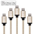 10PCS[MFi Certified] Cacoy 2m Lightning to USB Cable Braided iPhone Charging Cord with Metal USB Casing for iPhone 7 SE 6s 6 5s