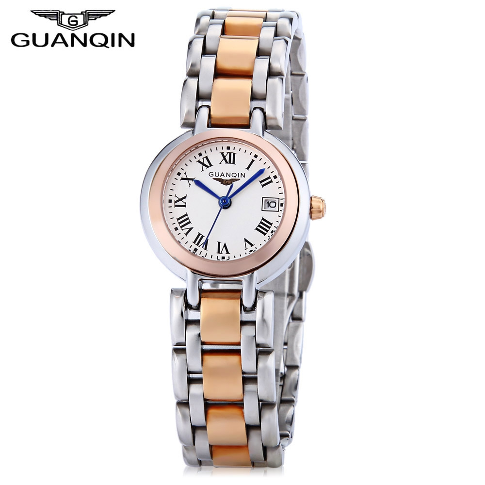 GUANQIN Women Quartz Watch Date Display 10ATM Stainless Steel Band Wristwatch