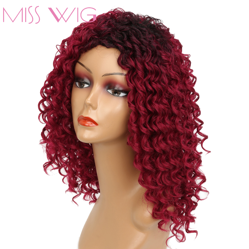 MISS WIG Long Black Ombre Red Blonde Mixed White Brown Kinky Curly Wigs for Black Women 250g Synthetic Wigs African Hairstyle