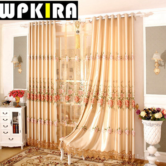 Europe Villa Terrace Curtain Luxury Lace Curtain Panels Gold Living Room  Bay Window Gauze Embroidery Flower