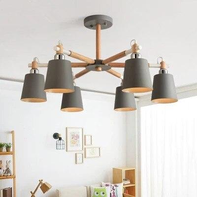 Solid wood living room chandelier lighting modern bedroom Restaurant LED chandeliers ceiling lamp household led chandelier lamp