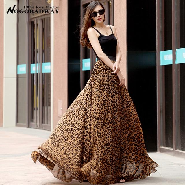 5e6049944f6024 Plus big size chiffon maxi skirts womens summer 2016 new fashion floor- length elastic high waist leopard print beach long skirt