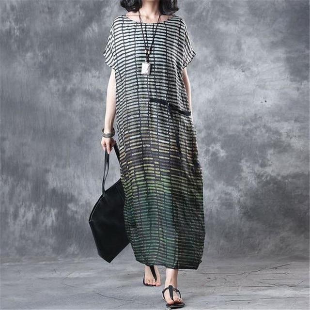 1f8ea359ebfe BUYKUD 2018 Summer Women Stripe Loose Casual Green Long Dress Round Neck  Short Sleeve Vintage Maxi