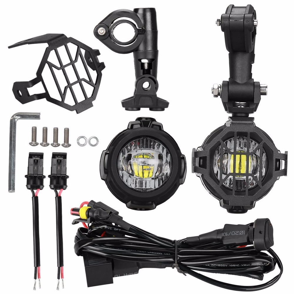 40W LED Auxiliary Lamp 6000K Super Bright Fog Driving Light Kits with Protect Guards Wiring Harness For Motorcycle BMW R1200GS