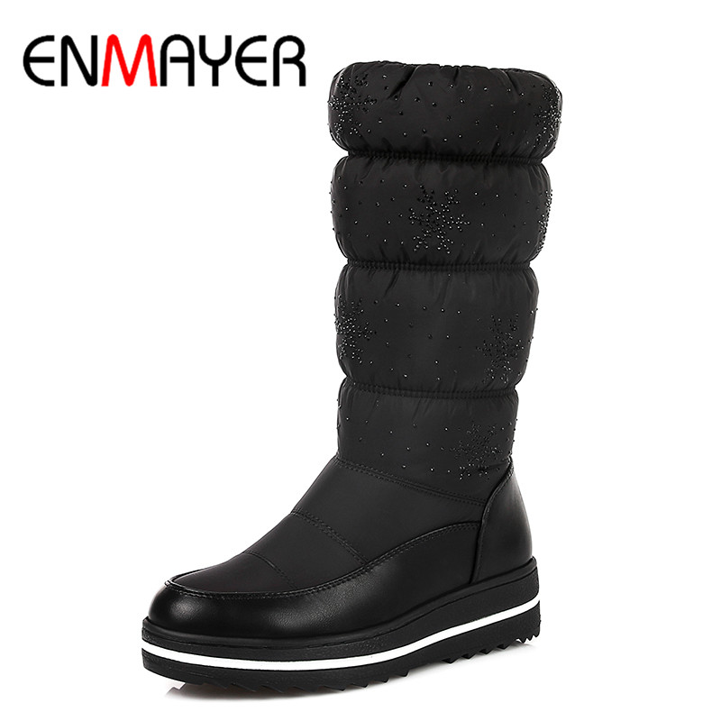 ENMAYER Round Toe Winter Boots Shoes Woman Low Heels Wedges Snow Boots Down Black Blue Mid-calf Boots for Women Short