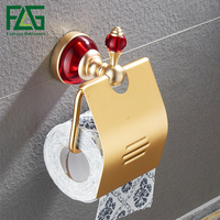 FLG Paper Holders Space Aluminum Gold Bathroom Paper Rack Red Crystal & Glass toilet paper roll holder Bathroom Accessories