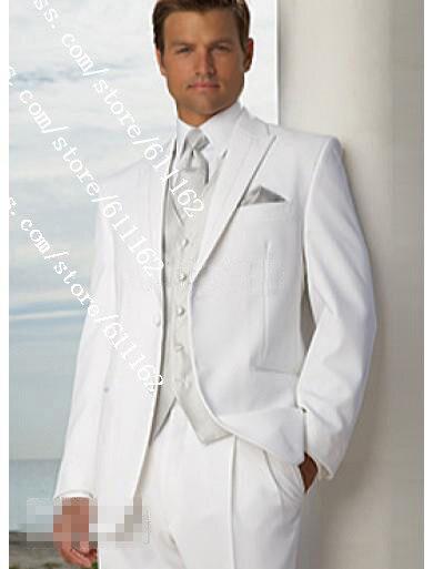 Free EMS!White Groom Tuxedos Men\'s Wedding Dress suits/vestido de ...
