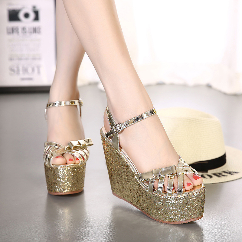 summer new arrival 2017 women wedges sandals high heels open toe shoe scrub paillette red wedding shoes bridal shoes female 2353