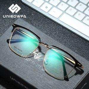 Image 3 - UNIEOWFA yarı çerçevesiz Retro optik gözlük çerçeve erkekler temizle miyopi gözlük çerçevesi kore Vintage reçete gözlük çerçevesi
