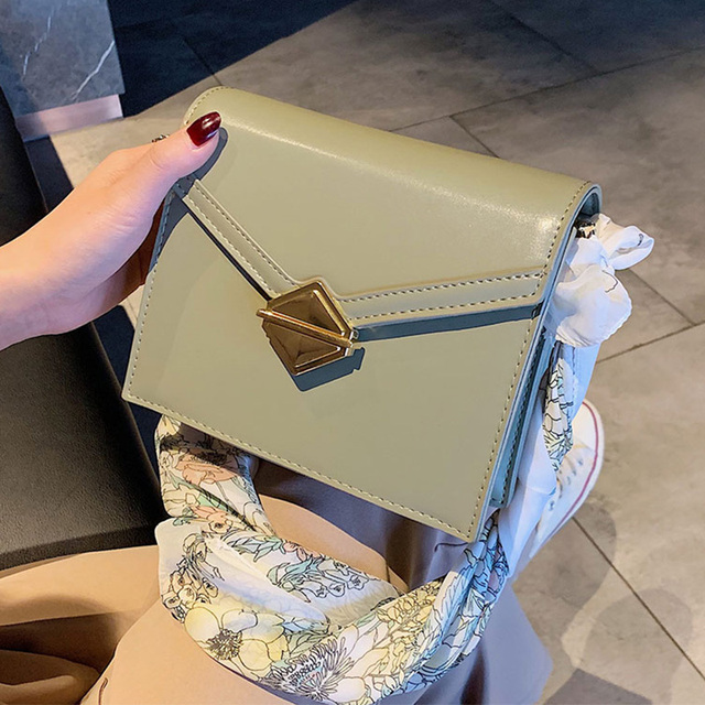 ETAILL Golden Chain Buckle Flap Crossbody Bag with Scarves Luxury Brand Designed Shoulder Bag Spring Summer Bags for Women 2019