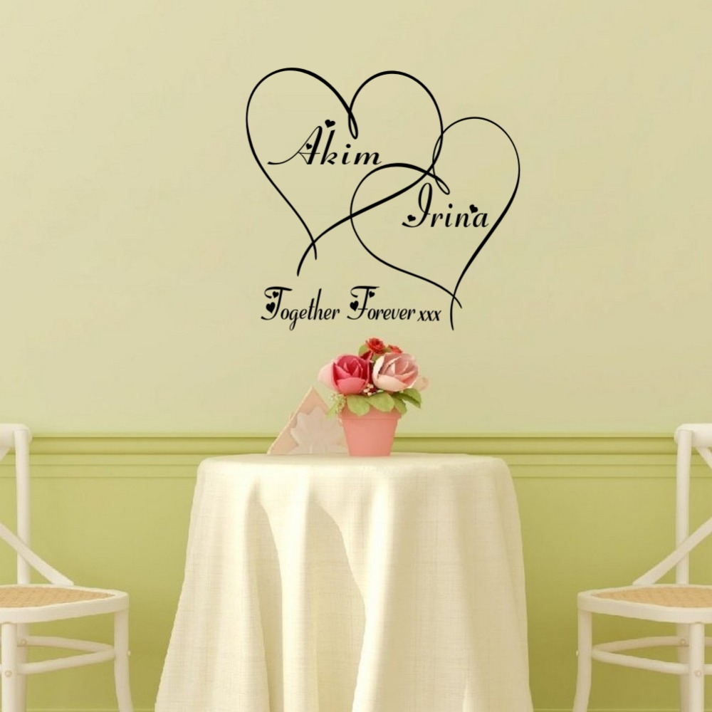 Custom-made Couples Name Personalized Together Forever Hearts ...