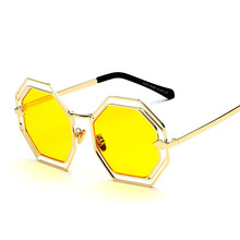 New Europe and the United States trend of men and women metal sunglasses retro colorful glasses personality round sunglasses
