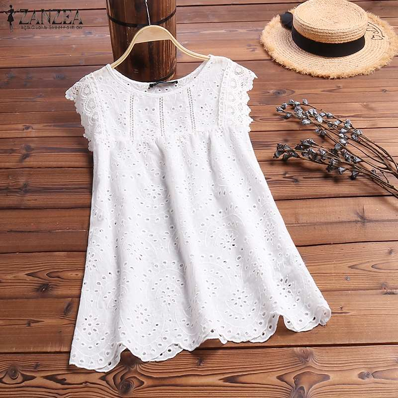 2019 Summer Hollow Out   Tanks     Tops   ZANZEA Fashion Women Sleeveless Shirt Lace Crochet Vest Tee Solid Casual Work Blusas White   Top