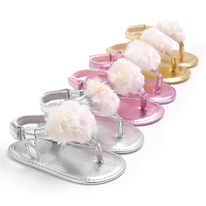 Fashion Baby Girls Summer Breathable Shoes Anti-slip Flip Flop Newborn Leather Crib Pram Shoes First Walkers Prewalker