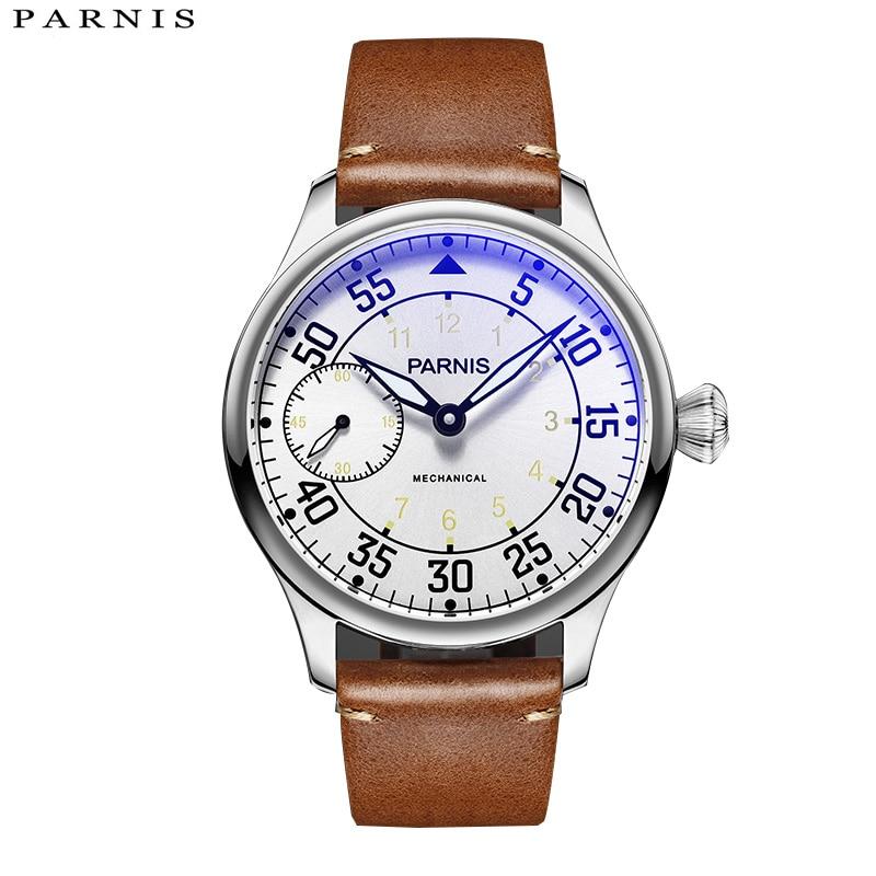 جديد وصول Parnis 44mm اليد لف الميكانيكية رجل الساعات التلقائي للماء جاكيت جلدي العلامة التجارية الفاخرة 2018-في الساعات الميكانيكية من ساعات اليد على  مجموعة 1