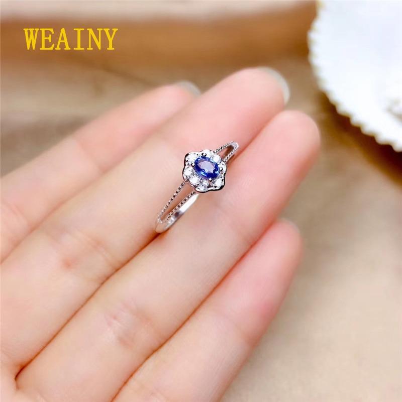 WEAINY S925 Sterling Silver Ring Genuine Natural Sri Lanka Sapphire Birthstone Ring Ladies Blue Gemstone Fashion Pop Ring