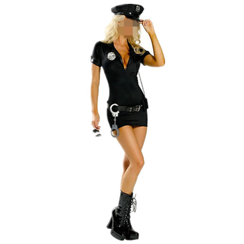 Plus Size Women Police Cosplay Costume Dress Sex Cop Uniform Sexy Policewomen Costume Outfit Prom Wholesale