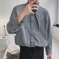2018 Newest Men's Fashion Korean Style Coat Retro Tie Decoration Plaid Long Sleeve French Cuff Shirts Loose Casual Clothes M XL