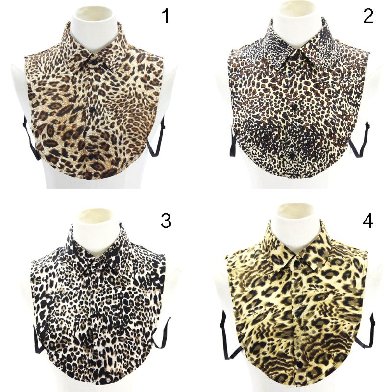 2018 Fashion Fake Collar Women Leopard Print Faux Collar Detachable Collar Lapel Blouse Ladies Adjust Clothes Accessories