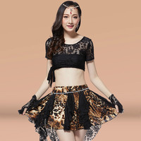 2017 Real Belly Dance Charm Lace Suit Summer Style Sexy Leopard Costume Costumes Clothes(top+skirt+socks+gloves+ribbon+belt)