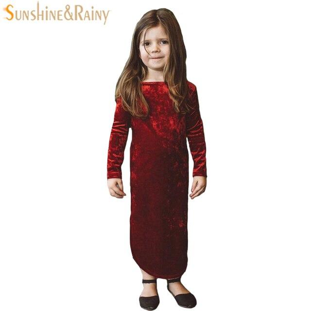 345da2a5f5 New Spring Vintage Style Baby Girl Velvet Dress Long Sleeve Autumn Kids  Dresses For Girls Princess Dress Girls Clothing New Year