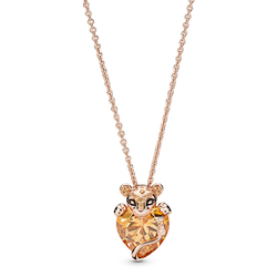 2019 NEW 100% 925 Sterling Silver Sparkling Lion Princess Heart Necklace Rose Gold Valentine's Day Original Fashion Jewelry Gift