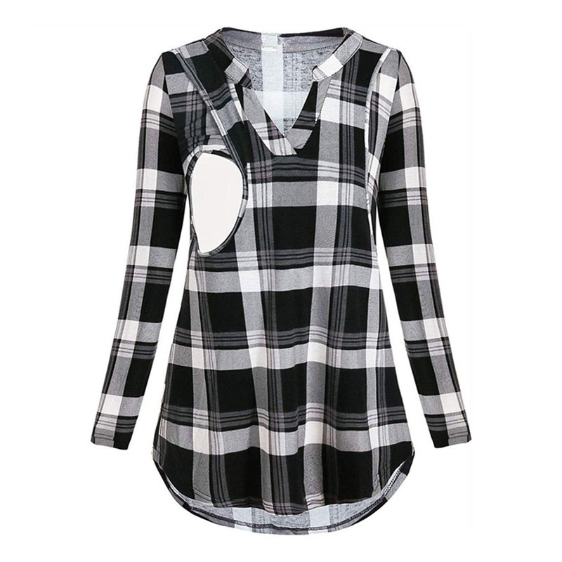 Plaid Nursing Maternity Shirts Pregnancy Blouses For Pregnant Women Breastfeeding Clothes Long Sleeve Feeding Maternity Clothing