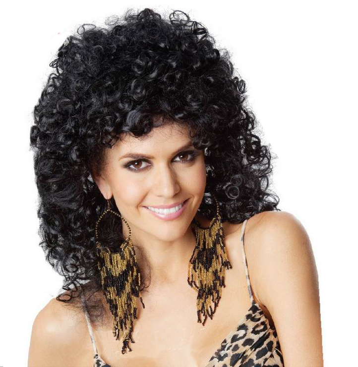 new style curly hair new style fashion curly wig black tight 6614
