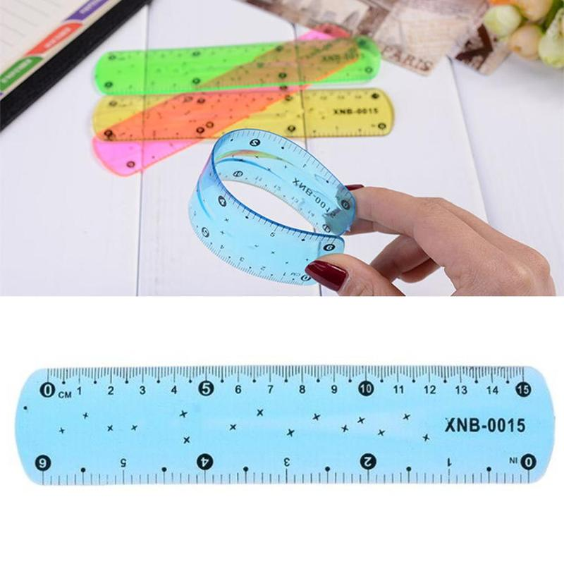 1pc New Pvc Plastic Soft Ruler Bookmark 15cm Students Study Office Measurement Supplies Transparent Drawing Tool