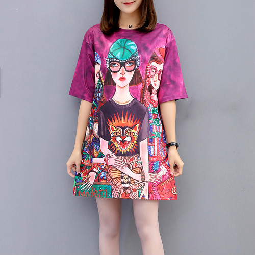 10 Colors 2019 New Spring Fashion Printed Women Shirt Summer Round Collar Short Sleeved Loose Personality Bottom Couple T shirt in T Shirts from Women 39 s Clothing